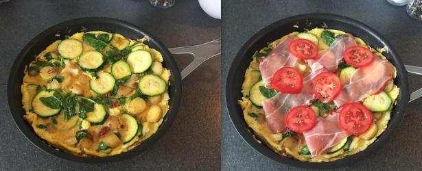 æggekage med squash og kartofler