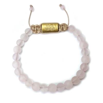 Rosenkvarts smykker 6 mm guld