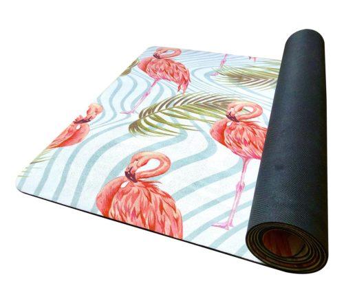 Yogamåtte med flamingo mønster